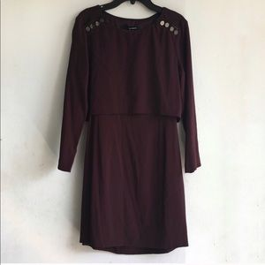 Crepe dress with leather trim
